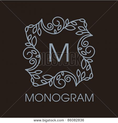 Luxury, simple  and elegant monochrome  Vector  abstract monogram or logo template in line style - graphic design elements