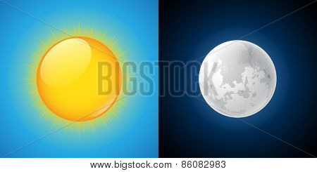 Sun and Moon. Vector illustration