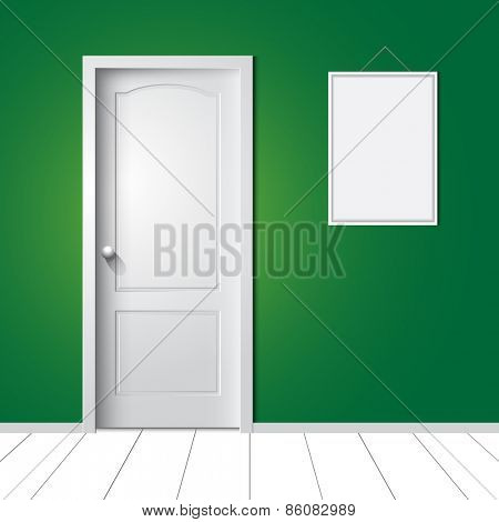 Door and photo frame on the wall. Vector illustration