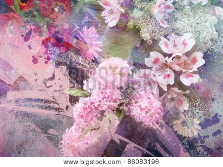 Abstract ink painting combined with field flowers on paper texture - floral grunge