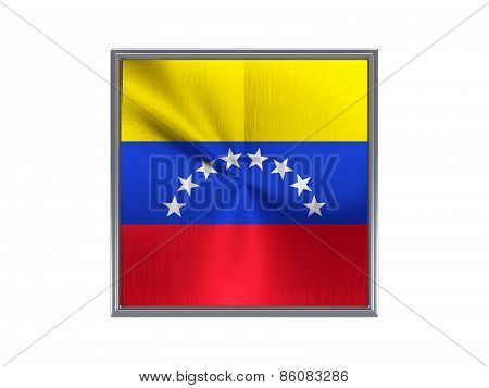 Square Metal Button With Flag Of Venezuela