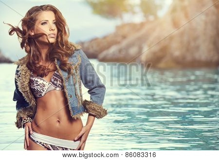 attractive smiling woman portrait on beach