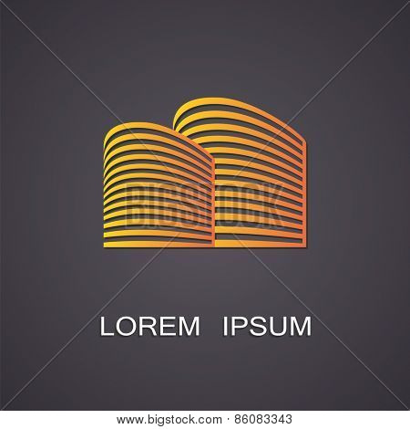Vector illustration of a symbolic representation of a block of flats