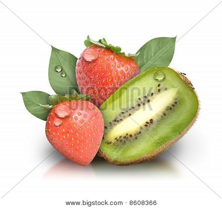 Fresh Kiwi Strawberry Fruit on White