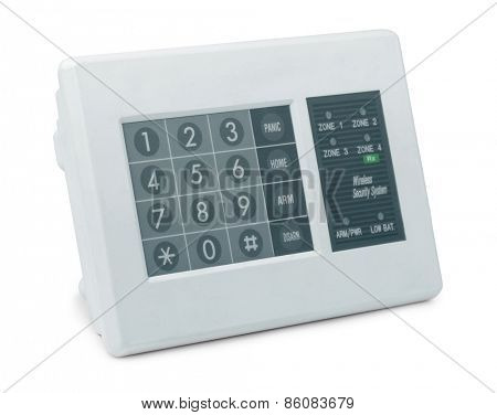Wireless security system control pad isolated on white