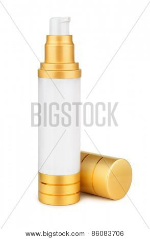 Face cream bottle isolated on white