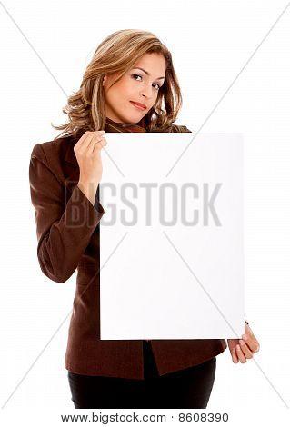 Mulher de negócios com um Banner