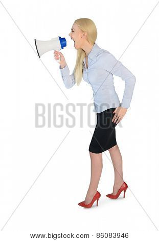 Isolated business woman with loudspeaker
