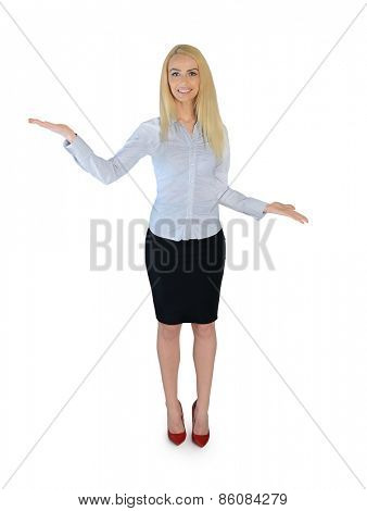 Isolated business woman presenting something