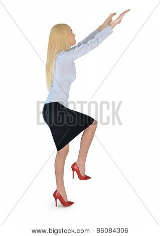Isolated business woman climb something