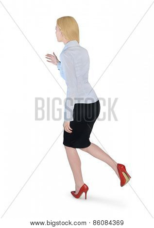 Isolated business woman run side