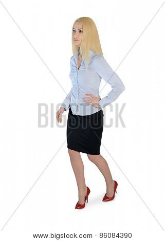 Isolated business woman walk forward