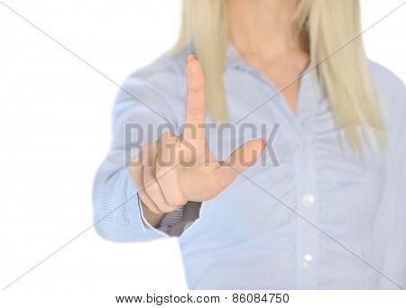Isolated business woman pressing something