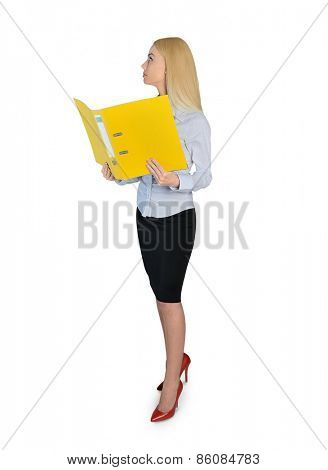 Isolated business woman reading file