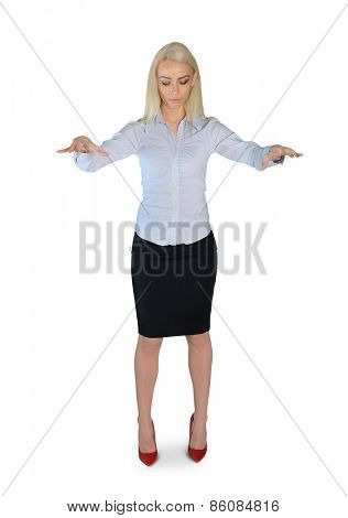 Isolated young business woman puppeteer