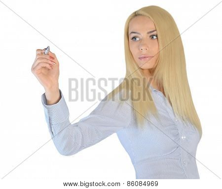 Isolated business woman writing something