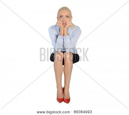 Isolated business woman sad thinking