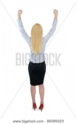 Isolated business woman winner hands up