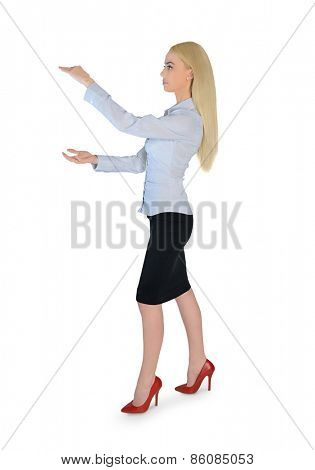 Isolated business woman carry something
