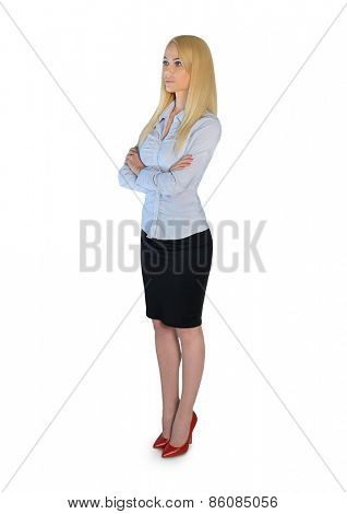 Isolated business woman looking side