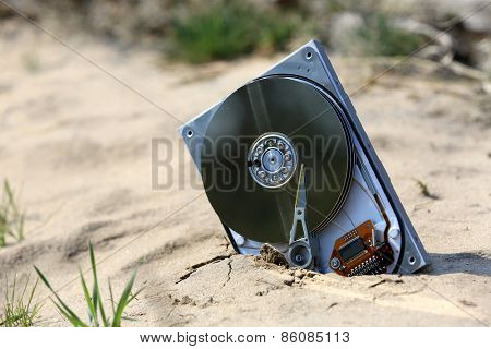 lost computer data storage, hard drive, on sand in outdoors