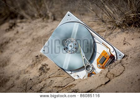 defective computer hard disk on sand in forest