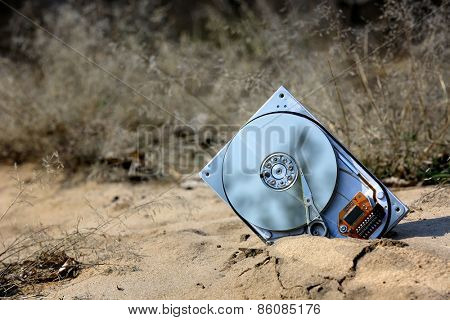 lost computer hard drive on sand in forest