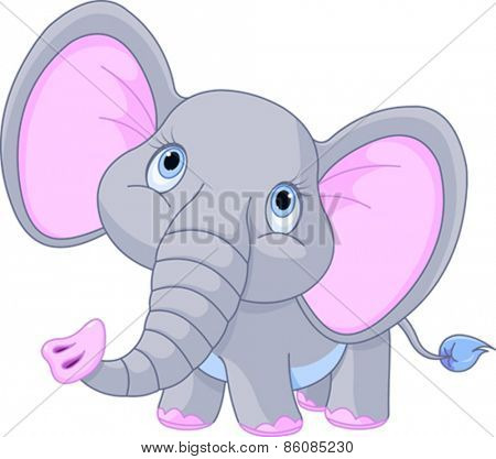 Illustration of a little baby elephant