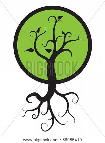 black tree with roots isolated on white background, vector logo