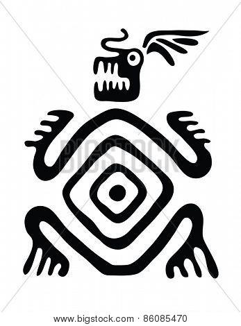 black monster in native style, vector illustration