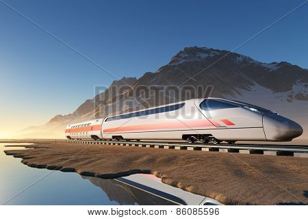 Modern train on the background of the snow landscape.