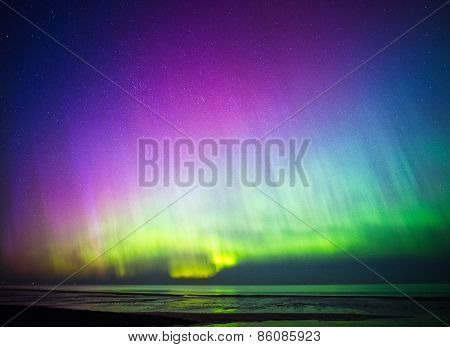 Beautiful Aurora Borealis over sea