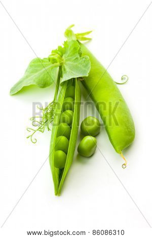 Pea's Pods, Opened and Closed with leaves - isolated on white background - vertical