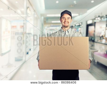 portrait of caucasian delivery man