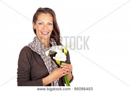 Beautiful woman with blossoming cala flowers