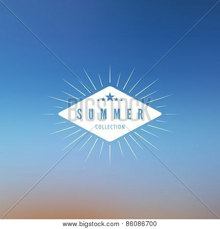 Logo Summer Retro Vintage Label design vector template. Beach Hipster Logotype on blurred background abstract.