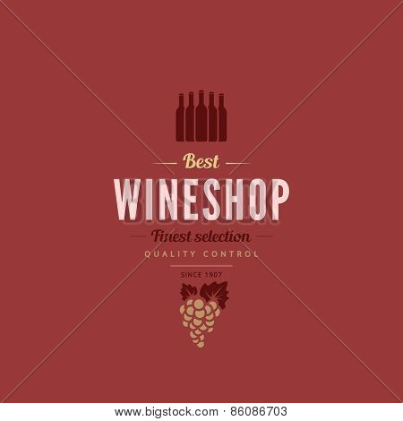 Logo Wine shop Retro Vintage Label design vector template. Hipster Logotype for restaurant menu.