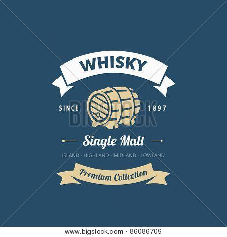 Logo Whisky Retro Vintage Label design vector template. Hipster Logotype for restaurant menu.