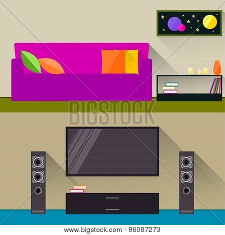 Bright Illustration In Trendy Flat Style With Room Interior For Use In Design