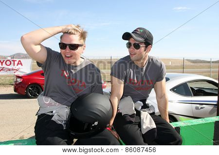 LOS ANGELES - FEB 21:  Brett Davern, Nathan Kress at the Grand Prix of Long Beach Pro/Celebrity Race Training at the Willow Springs International Raceway on March 21, 2015 in Rosamond, CA