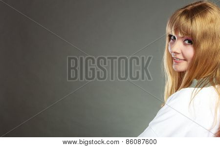 Face Of Young Blonde Woman With Bangs