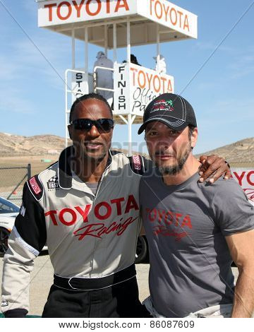LOS ANGELES - FEB 21:  Willie Gault, Raul Mendez at the Grand Prix of Long Beach Pro/Celebrity Race Training at the Willow Springs International Raceway on March 21, 2015 in Rosamond, CA