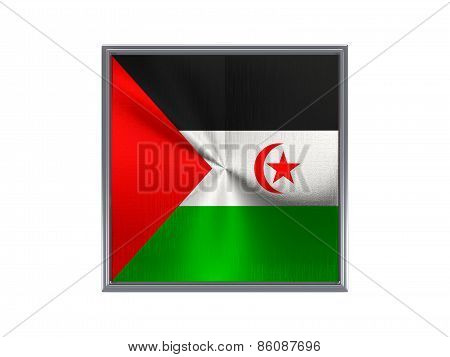 Square Metal Button With Flag Of Western Sahara