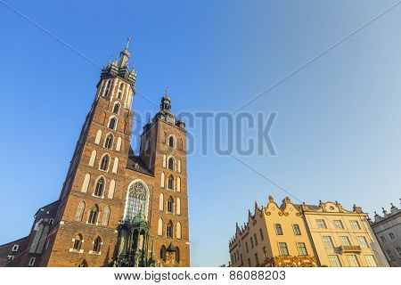 The St Mary church at the market squere in Krakow, Poland.