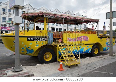 MALACCA, MALAYSIA - CIRCA JANUARY, 2015: Duck tours - this tourist attraction tours famous Malacca landmarks with an amphibious vehicle that can operate both as a bus and as a boat.