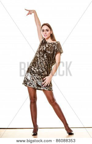 Elegant Woman In Evening Sequin Dress