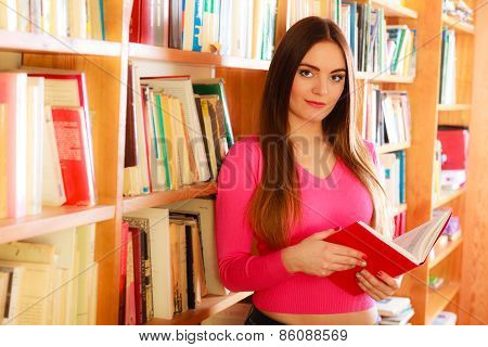 Intelligent female student in college library