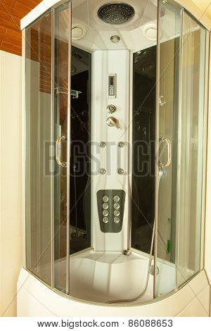 Modern Big Shower Cabin In Bathroom Corner