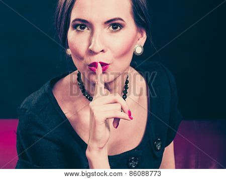 Retro Secret Woman Finger On Lips.
