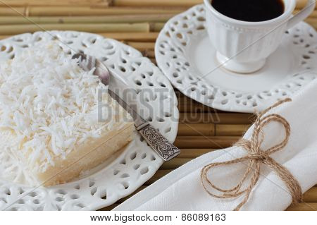Razilian Sweet Cuoscous Pudding (cuscuz Doce) With Coconut And Coffee